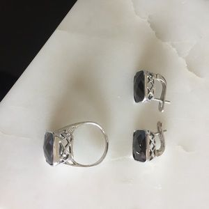 Jewelry - Ring earings set black onyx sterling silver size 8